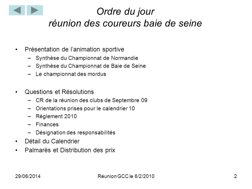 29/06/20142 Ordre du jour réunion des coureurs baie de seine •Présentation de l'animation sportive –Synthèse du Championnat de Normandie –Synthèse du