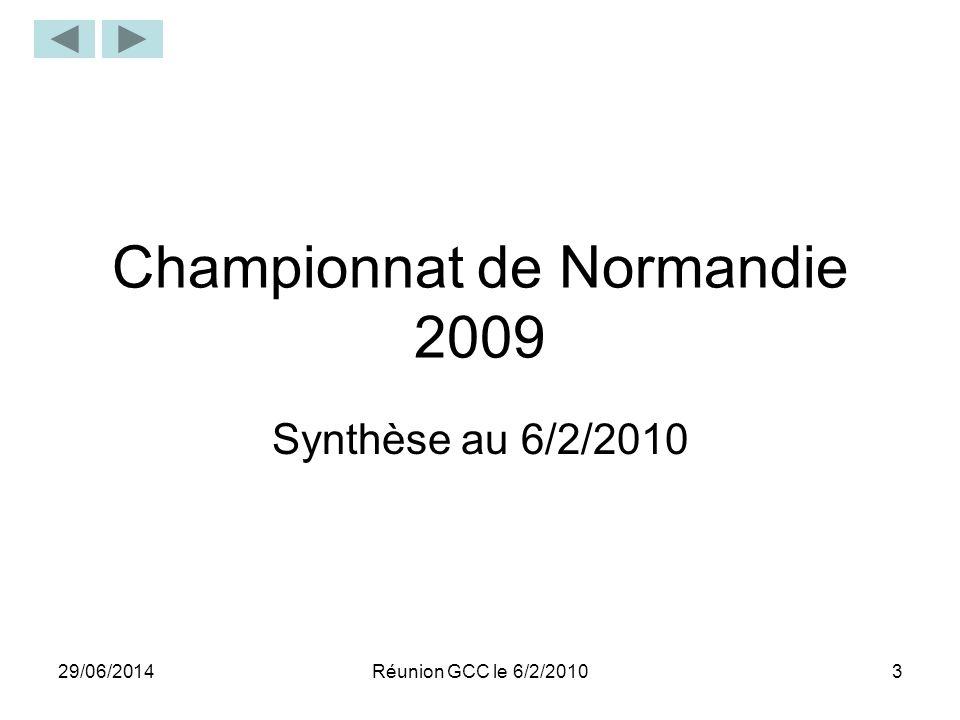 29/06/20143 Championnat de Normandie 2009 Synthèse au 6/2/2010 Réunion GCC le 6/2/2010
