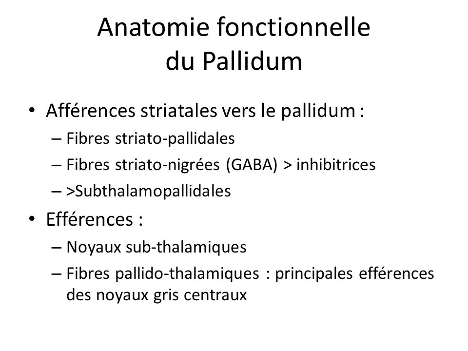 • Afférences striatales vers le pallidum : – Fibres striato-pallidales – Fibres striato-nigrées (GABA) > inhibitrices – >Subthalamopallidales • Effére