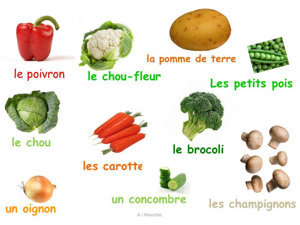 A J Mounter, le poivron le brocoli un oignon Les petits pois les carottes le chou-fleur les champignons la pomme de terre le chou un concombre