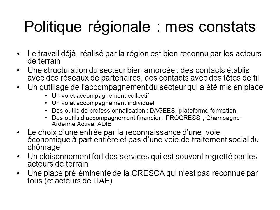 Problématique / contexte actuel et priorités de mandature •Contexte : –crise éco –Un secteur touché de plein fouet par la crise –Des outils mis en place qui ont permis un premier essaimage, –Faiblesse du nombre de dossiers en cours –Année de l'IAE ; assises le 4 octobre –Prochaine assises régionales ESS prévues en 2011 –Réseau RTES prévoit assises nationales ESS en 2011 –Rapport Vercameer (député ) sur ESS ; mission parlementaire : –Crédibilité secteur ESS relevée ; enjeu de la lisibilité et du décloisonnement avec reste de l'économie particulièrement ciblé : liens avec dispositifs de droits communs à établir tout en maintenant des mesures spécifiques – Volonté d'innovation sociale •Enjeux •Mesures –Décloisonnement –Approche filière