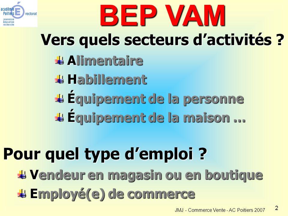 2 BEP VAM Vers quels secteurs d'activités .