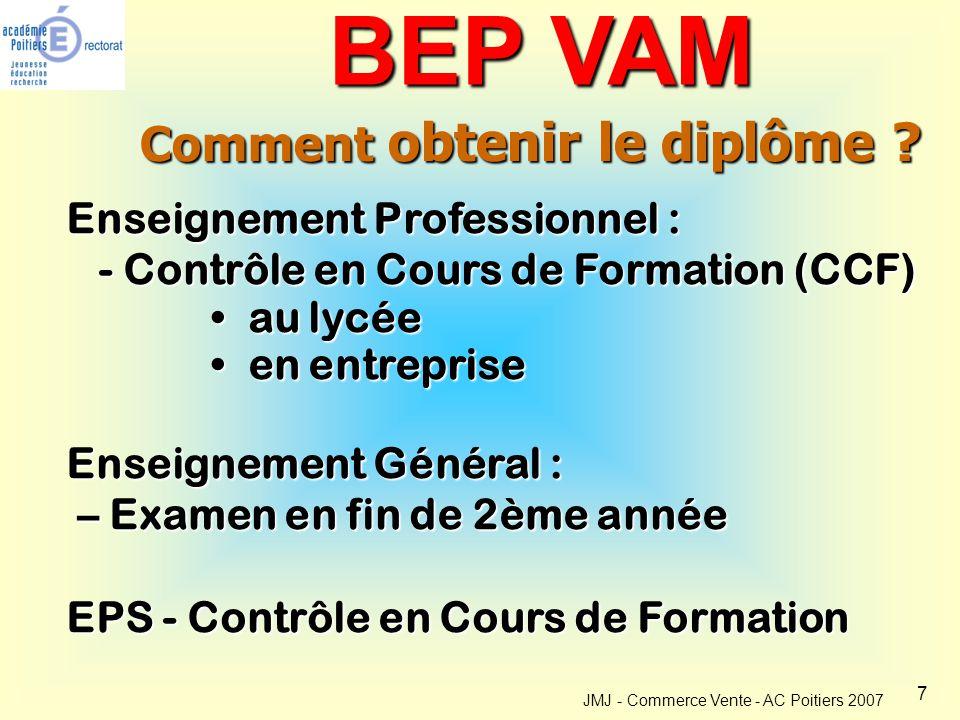 7 JMJ - Commerce Vente - AC Poitiers 2007 Comment obtenir le diplôme .