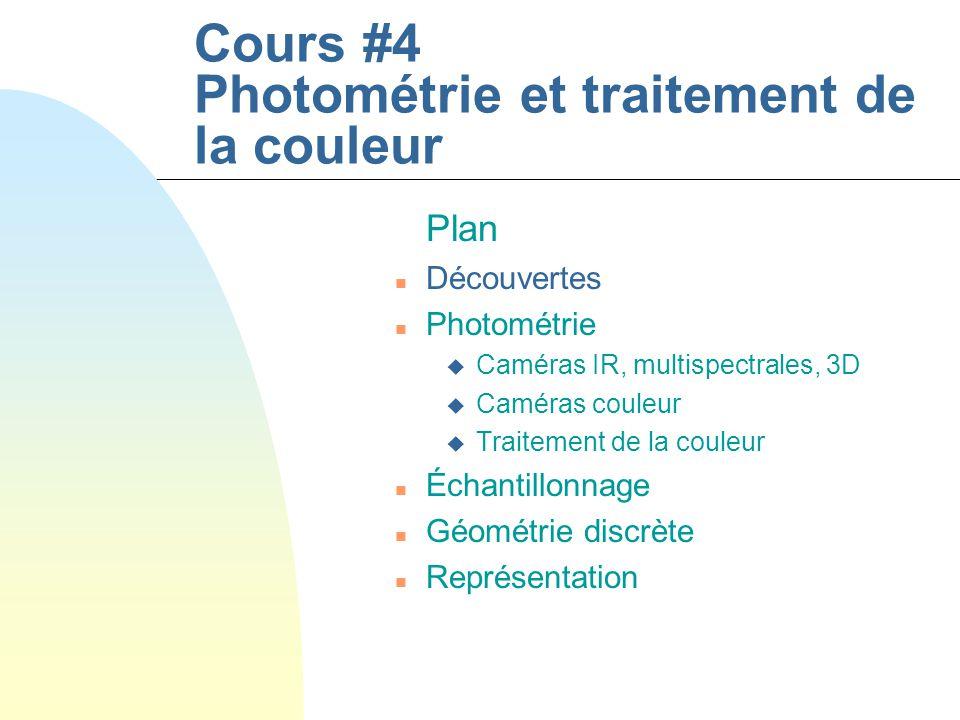 Cours #4 Photométrie et traitement de la couleur Plan n Découvertes n Photométrie u Caméras IR, multispectrales, 3D u Caméras couleur u Traitement de