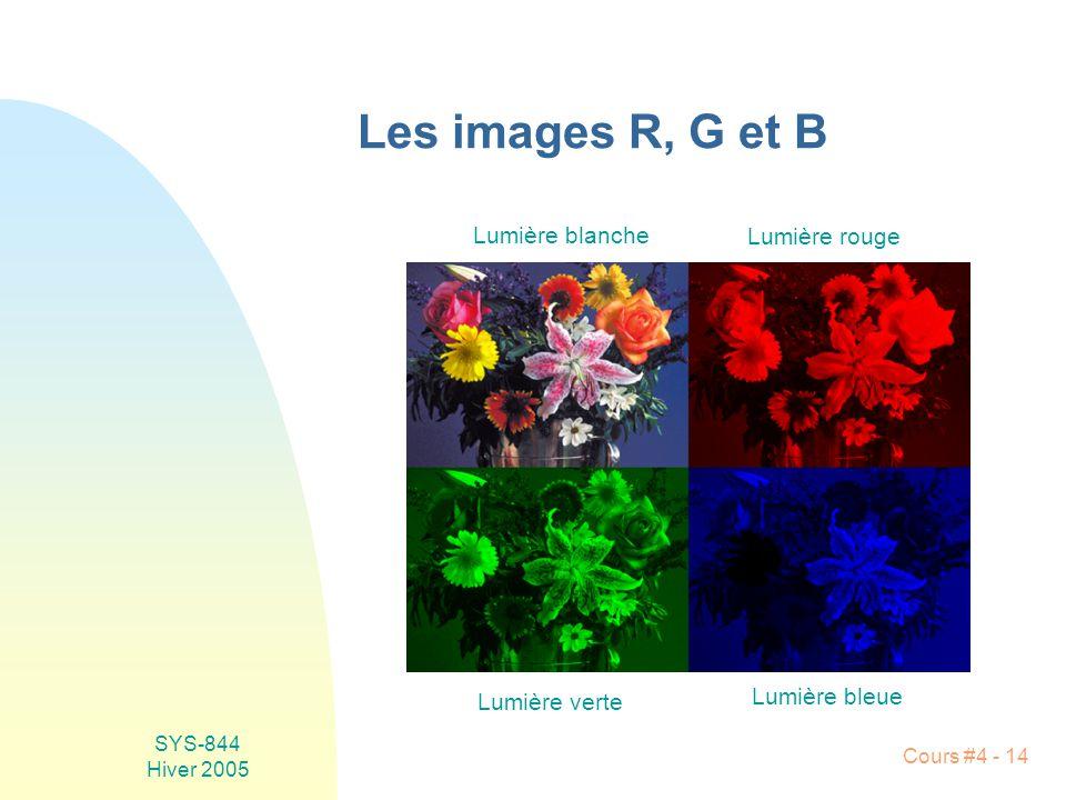 SYS-844 Hiver 2005 Cours #4 - 14 Les images R, G et B Lumière blanche Lumière rouge Lumière verte Lumière bleue