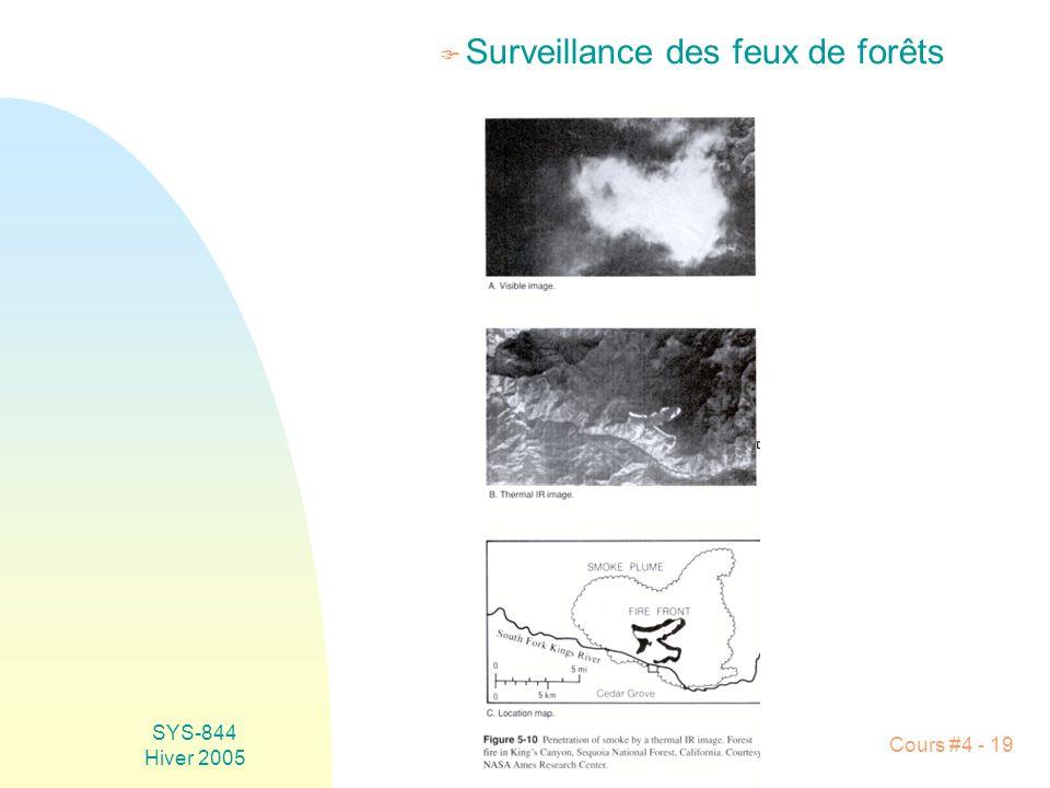 SYS-844 Hiver 2005 Cours #4 - 19 F Surveillance des feux de forêts