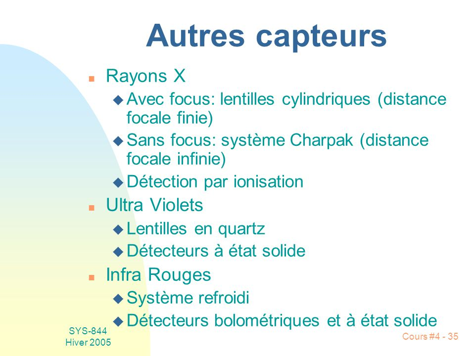 SYS-844 Hiver 2005 Cours #4 - 35 Autres capteurs n Rayons X u Avec focus: lentilles cylindriques (distance focale finie) u Sans focus: système Charpak