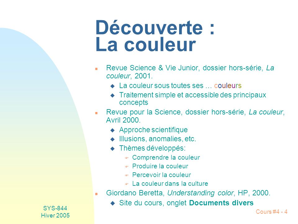 SYS-844 Hiver 2005 Cours #4 - 75