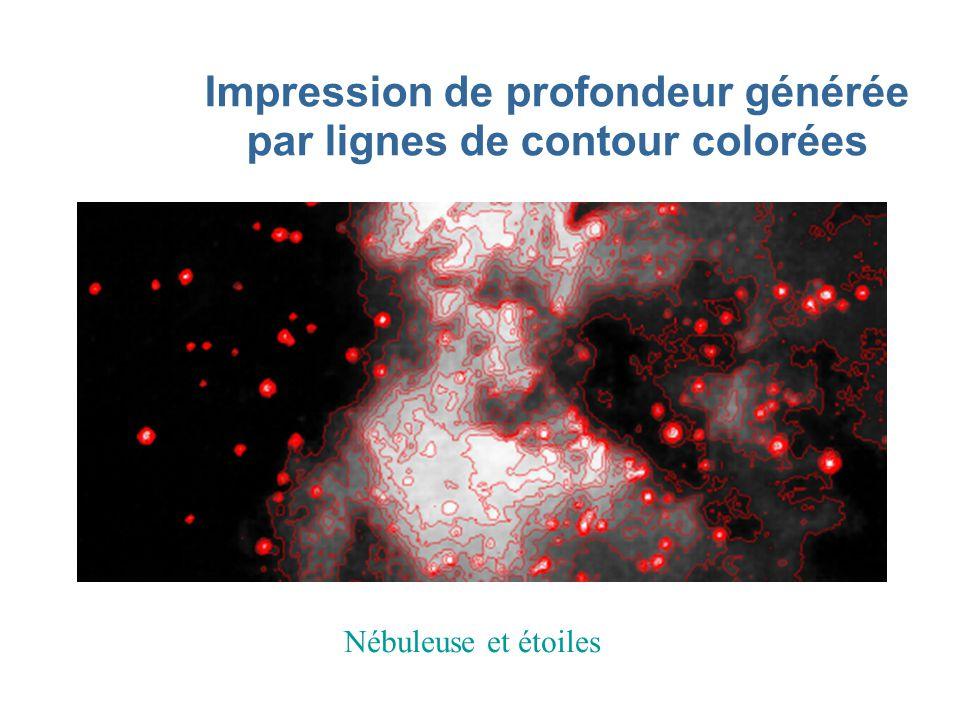 Impression de profondeur générée par lignes de contour colorées Nébuleuse et étoiles