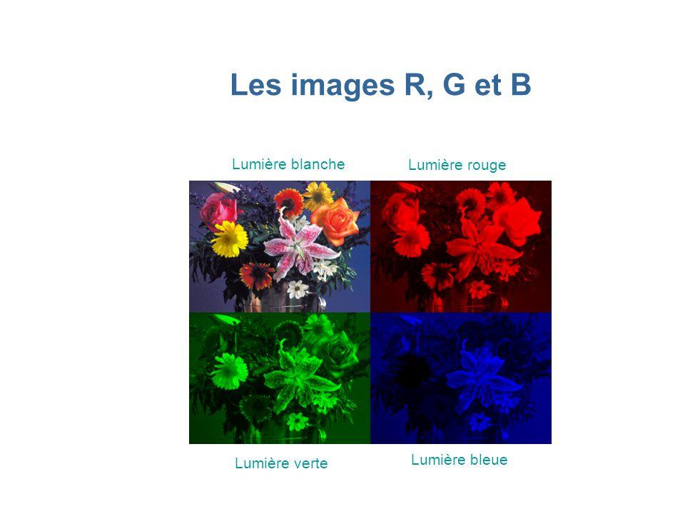 Les images R, G et B Lumière blanche Lumière rouge Lumière verte Lumière bleue
