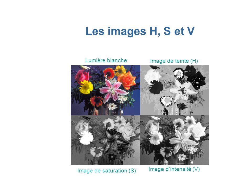 Les images H, S et V Lumière blanche Image de teinte (H) Image de saturation (S) Image d'intensité (V)