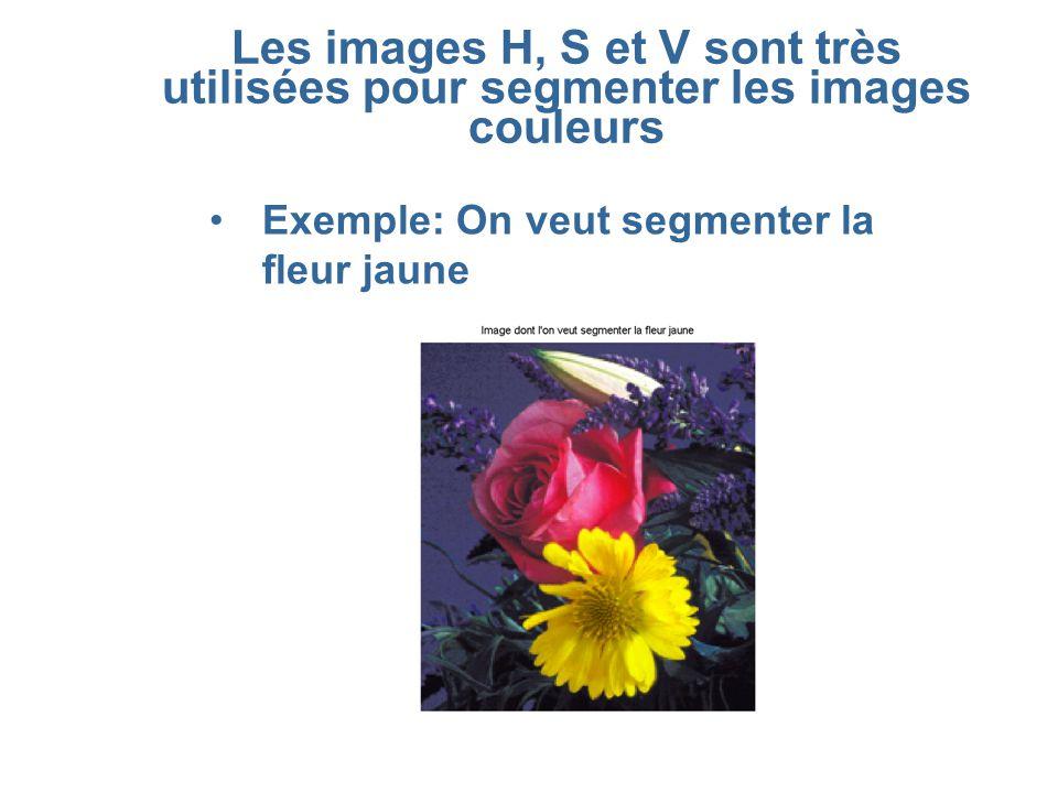 Les images H, S et V sont très utilisées pour segmenter les images couleurs •Exemple: On veut segmenter la fleur jaune