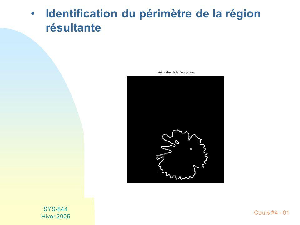 SYS-844 Hiver 2005 Cours #4 - 61 •Identification du périmètre de la région résultante
