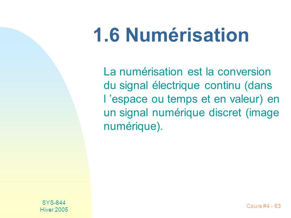 SYS-844 Hiver 2005 Cours #4 - 63 1.6 Numérisation La numérisation est la conversion du signal électrique continu (dans l 'espace ou temps et en valeur) en un signal numérique discret (image numérique).