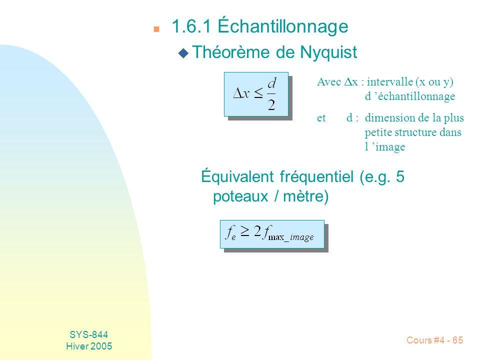SYS-844 Hiver 2005 Cours #4 - 65 n 1.6.1 Échantillonnage u Théorème de Nyquist Avec  x : intervalle (x ou y) d 'échantillonnage et d :dimension de la plus petite structure dans l 'image Équivalent fréquentiel (e.g.