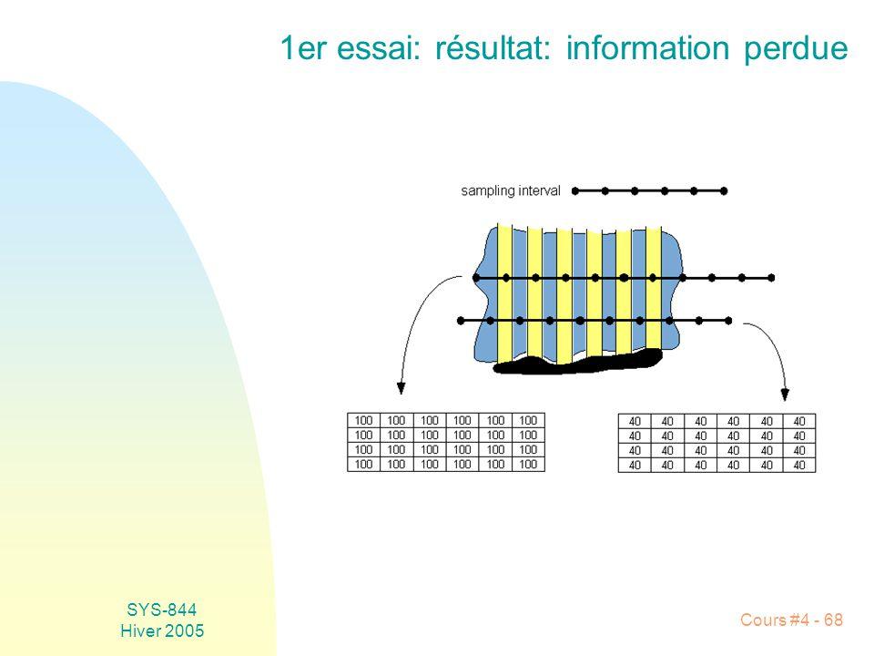 SYS-844 Hiver 2005 Cours #4 - 68 1er essai: résultat: information perdue
