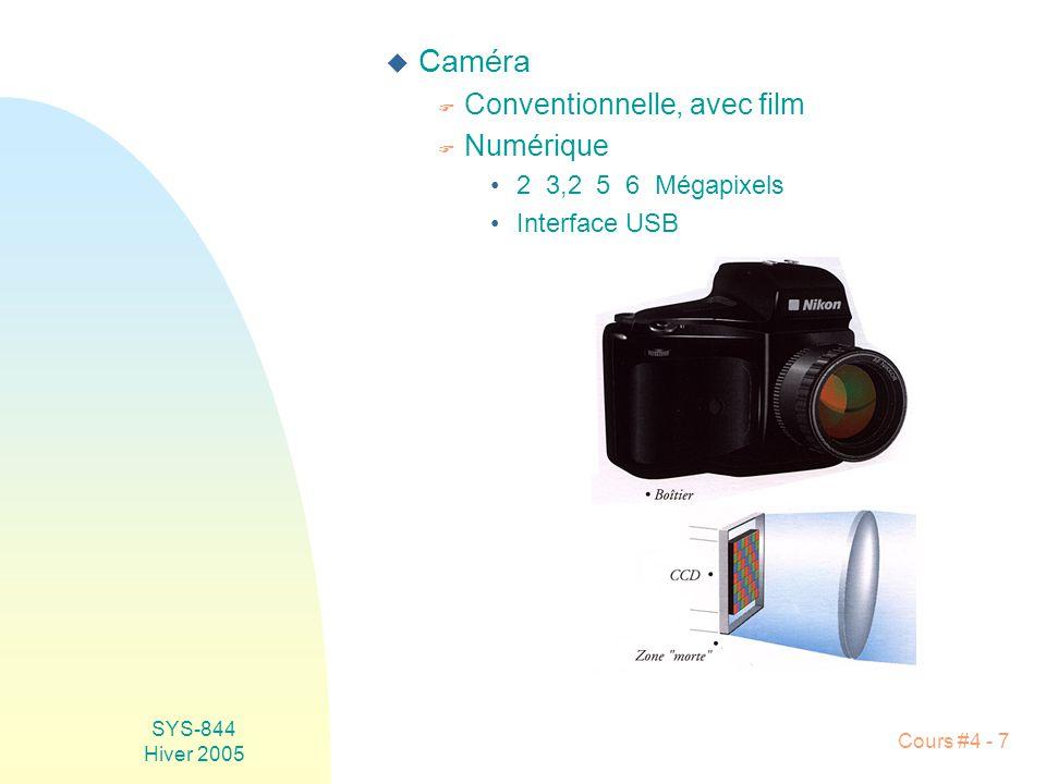 SYS-844 Hiver 2005 Cours #4 - 7 u Caméra F Conventionnelle, avec film F Numérique •2 3,2 5 6 Mégapixels •Interface USB