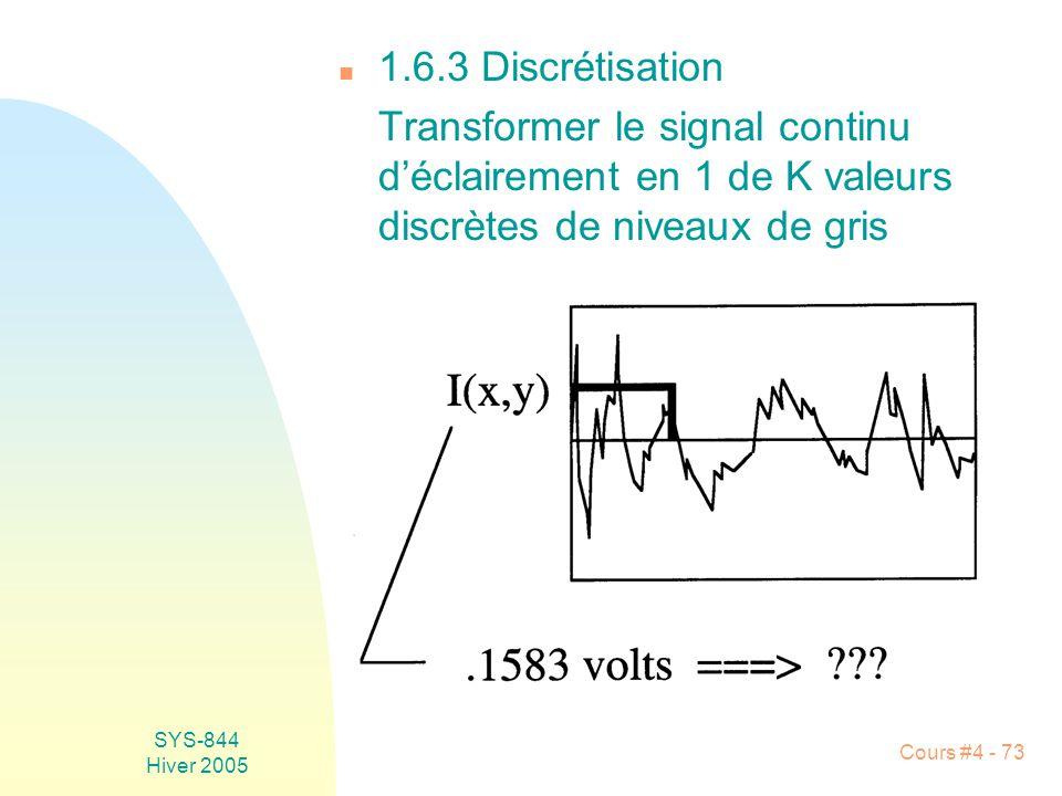 SYS-844 Hiver 2005 Cours #4 - 73 n 1.6.3 Discrétisation Transformer le signal continu d'éclairement en 1 de K valeurs discrètes de niveaux de gris