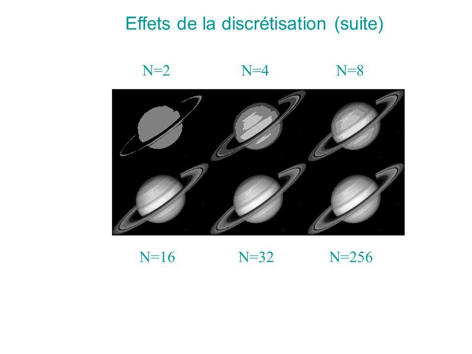N=2 N=4 N=8 N=16 N=32 N=256 Effets de la discrétisation (suite)