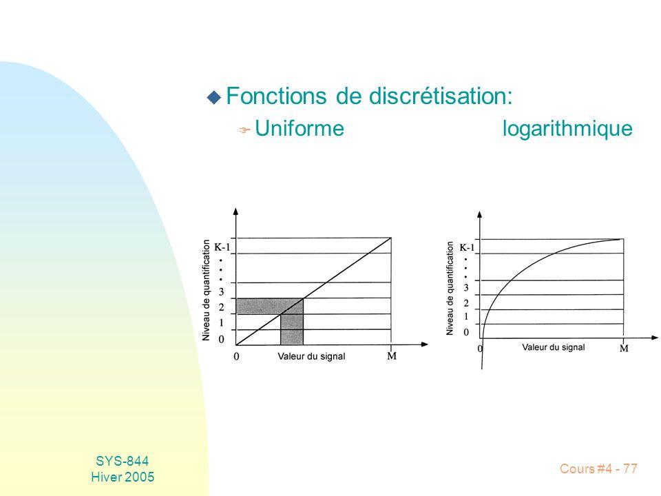 SYS-844 Hiver 2005 Cours #4 - 77 u Fonctions de discrétisation: F Uniformelogarithmique