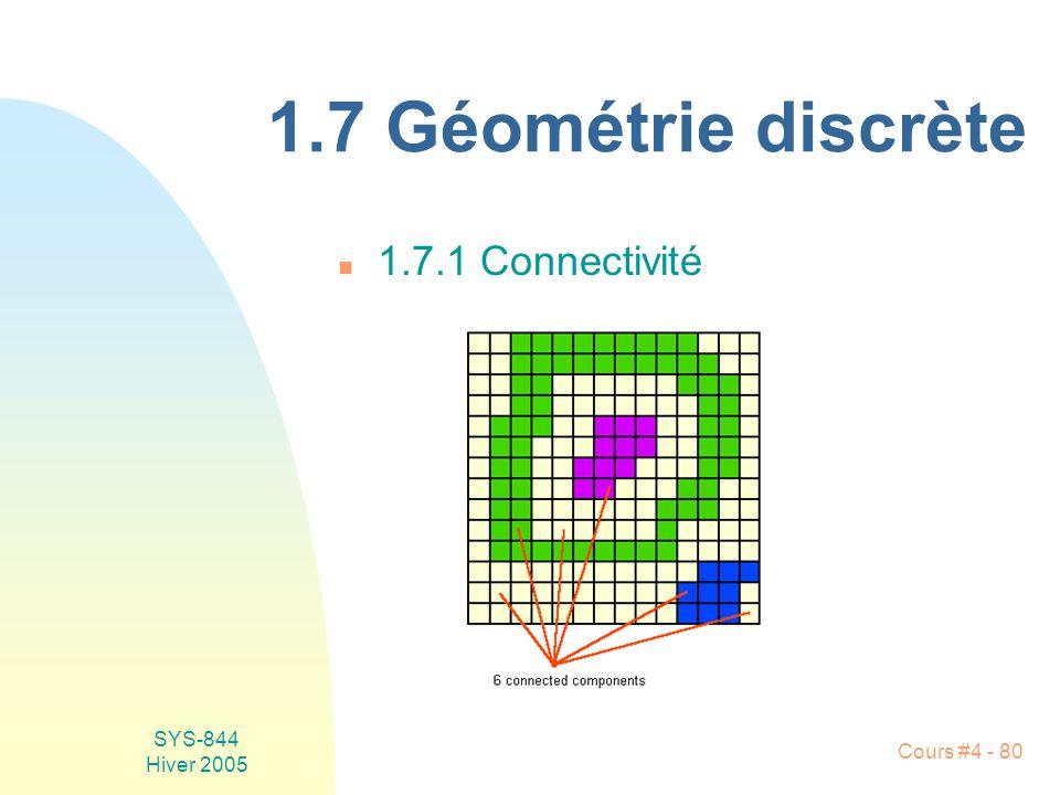 SYS-844 Hiver 2005 Cours #4 - 80 1.7 Géométrie discrète n 1.7.1 Connectivité