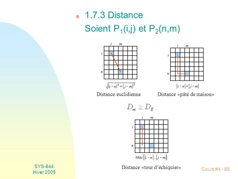 SYS-844 Hiver 2005 Cours #4 - 85 n 1.7.3 Distance Soient P 1 (i,j) et P 2 (n,m) Distance euclidienneDistance «pâté de maison» Distance «tour d'échiquier»