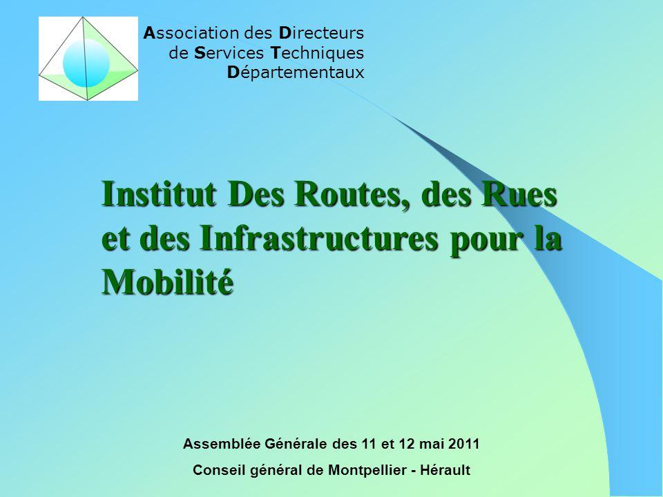 Association des Directeurs de Services Techniques Départementaux Assemblée Générale des 11 et 12 mai 2011 Conseil général de Montpellier - Hérault Ins