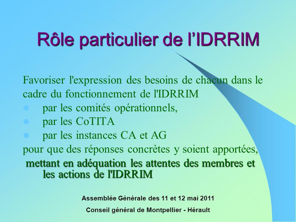 Assemblée Générale des 11 et 12 mai 2011 Conseil général de Montpellier - Hérault Rôle particulier de l'IDRRIM Favoriser l'expression des besoins de c