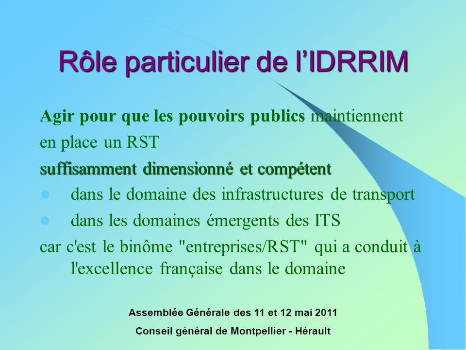 Assemblée Générale des 11 et 12 mai 2011 Conseil général de Montpellier - Hérault Rôle particulier de l'IDRRIM Agir pour que les pouvoirs publics main