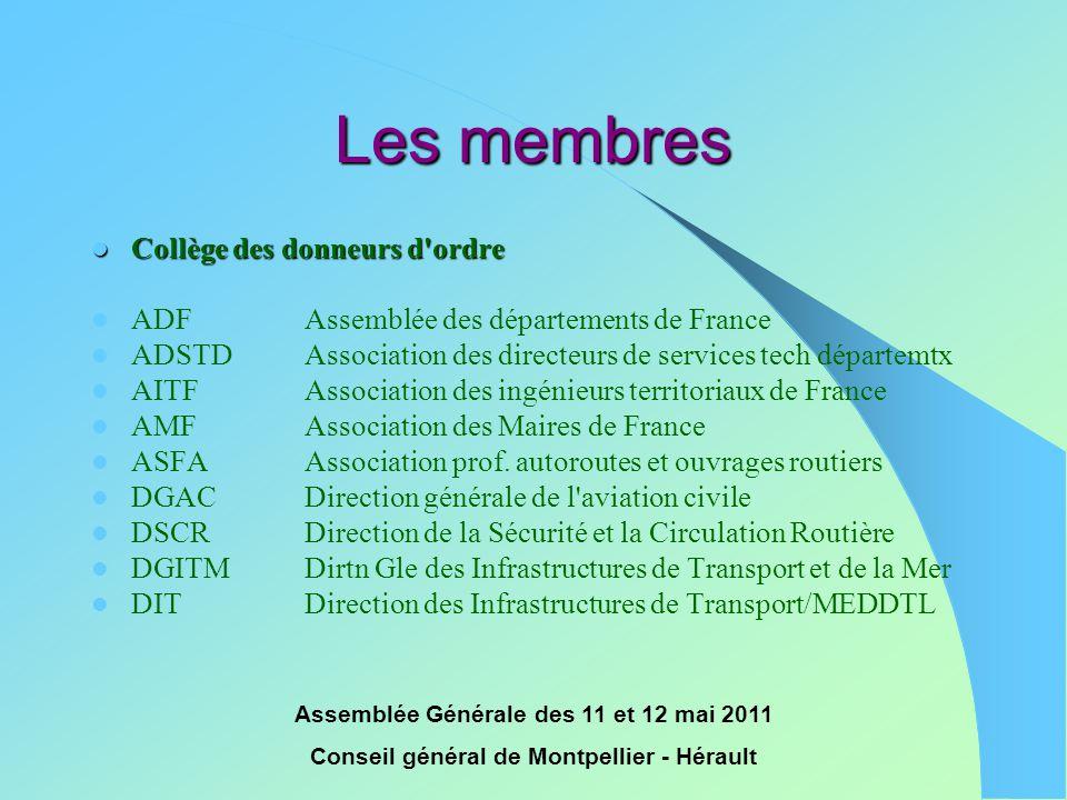 Assemblée Générale des 11 et 12 mai 2011 Conseil général de Montpellier - Hérault Les membres  Collège des donneurs d'ordre  ADFAssemblée des départ