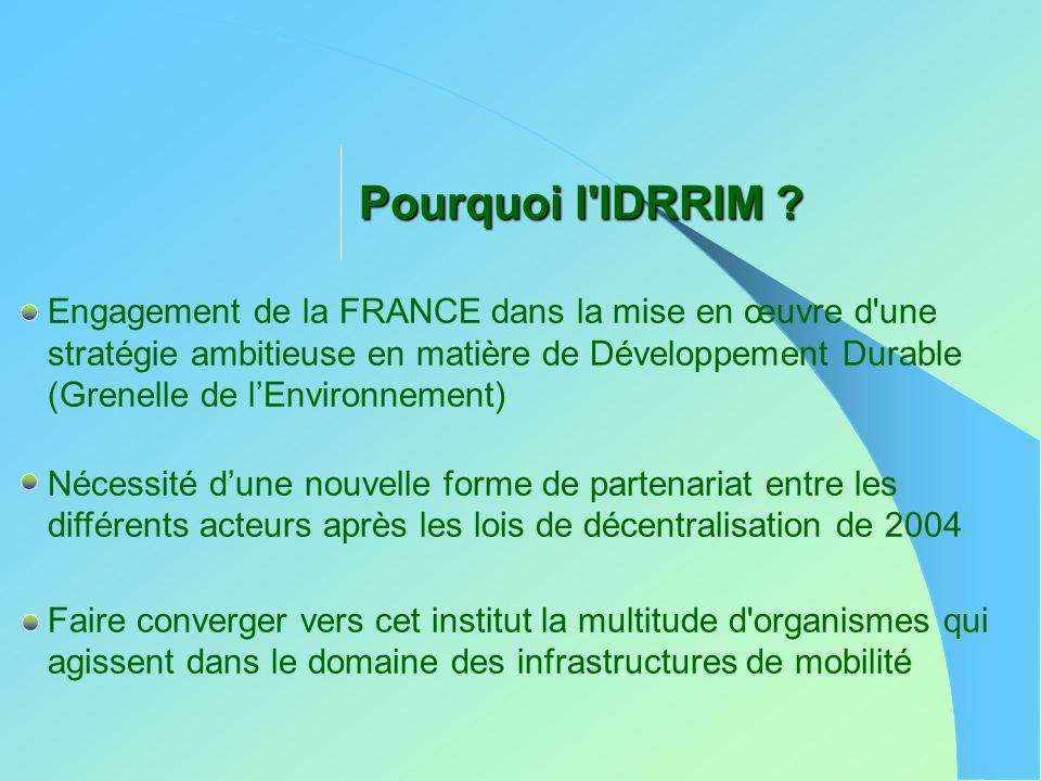 Pourquoi l'IDRRIM ? Engagement de la FRANCE dans la mise en œuvre d'une stratégie ambitieuse en matière de Développement Durable (Grenelle de l'Enviro
