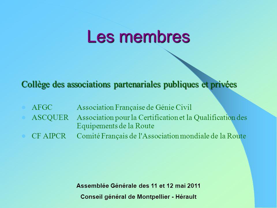 Assemblée Générale des 11 et 12 mai 2011 Conseil général de Montpellier - Hérault Les membres Collège des associations partenariales publiques et priv