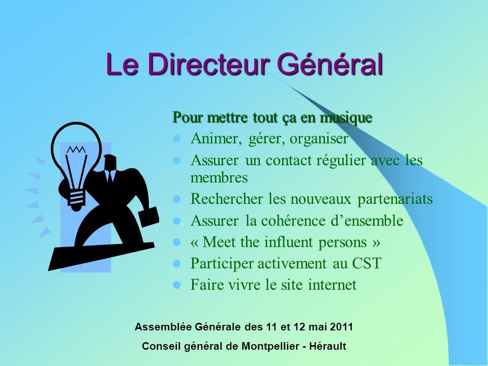 Assemblée Générale des 11 et 12 mai 2011 Conseil général de Montpellier - Hérault Le Directeur Général Pour mettre tout ça en musique  Animer, gérer,