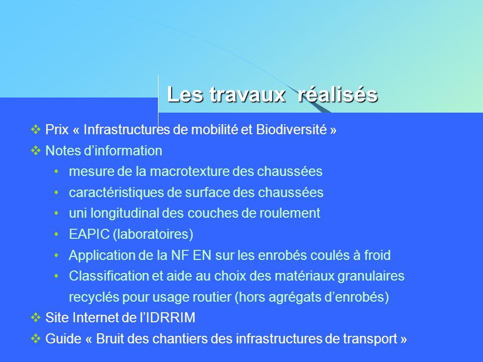 Les travaux réalisés  Prix « Infrastructures de mobilité et Biodiversité »  Notes d'information •mesure de la macrotexture des chaussées •caractéris