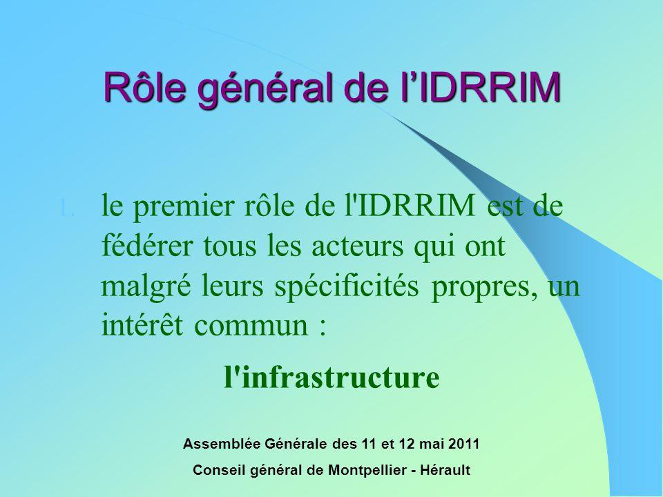 Assemblée Générale des 11 et 12 mai 2011 Conseil général de Montpellier - Hérault Rôle général de l'IDRRIM 1. le premier rôle de l'IDRRIM est de fédér