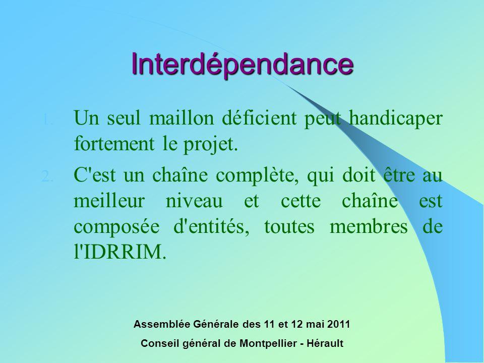 Assemblée Générale des 11 et 12 mai 2011 Conseil général de Montpellier - Hérault Interdépendance 1. Un seul maillon déficient peut handicaper forteme