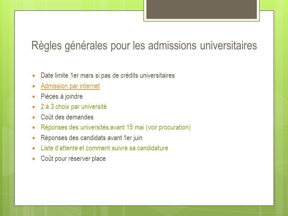 Règles générales pour les admissions universitaires  Date limite 1er mars si pas de crédits universitaires  Admission par internet Admission par int