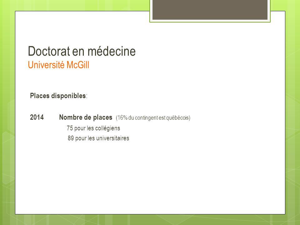 Doctorat en médecine Université McGill Places disponibles : 2014 Nombre de places (16% du contingent est québécois) 75 pour les collégiens 89 pour les