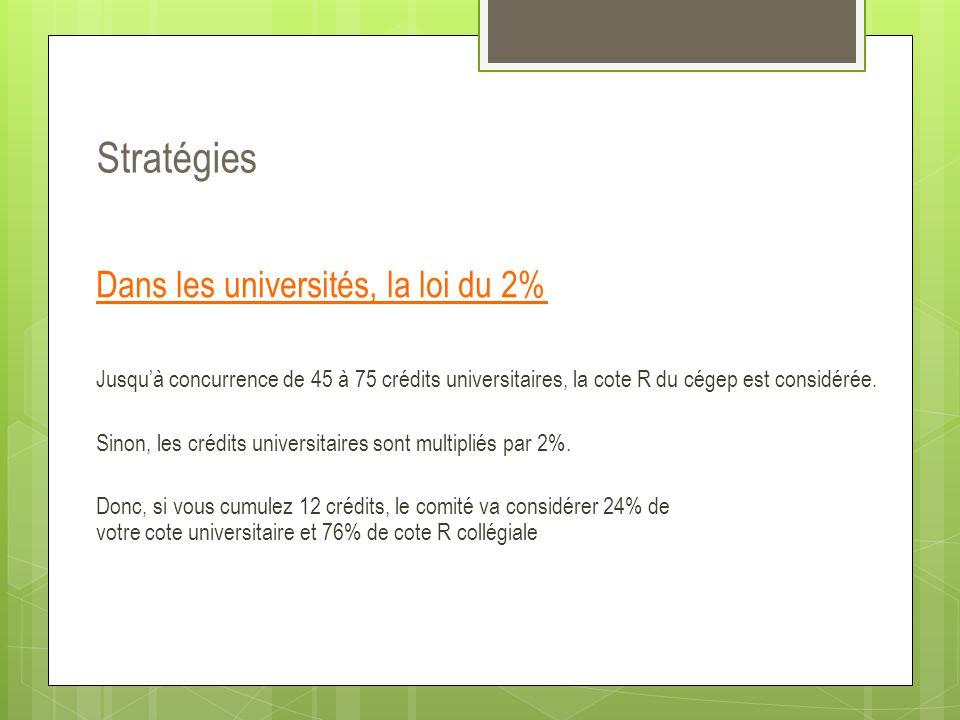 Dans les universités, la loi du 2% Jusqu'à concurrence de 45 à 75 crédits universitaires, la cote R du cégep est considérée. Sinon, les crédits univer