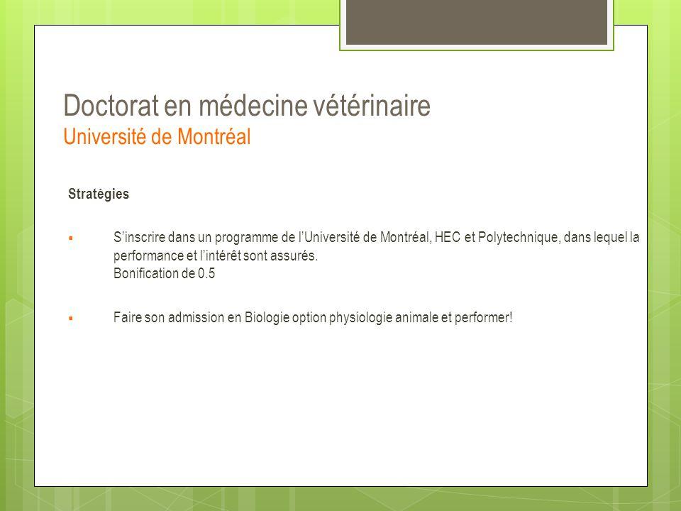 Doctorat en médecine vétérinaire Université de Montréal Stratégies  S'inscrire dans un programme de l'Université de Montréal, HEC et Polytechnique, d
