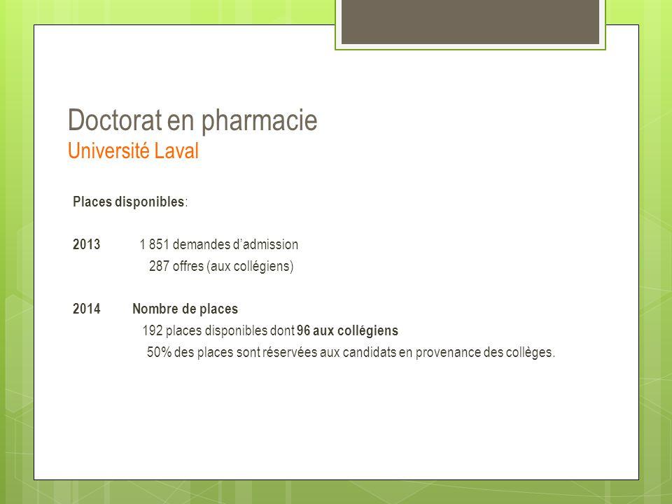 Doctorat en pharmacie Université Laval Places disponibles : 2013 1 851 demandes d'admission 287 offres (aux collégiens) 2014Nombre de places 192 place