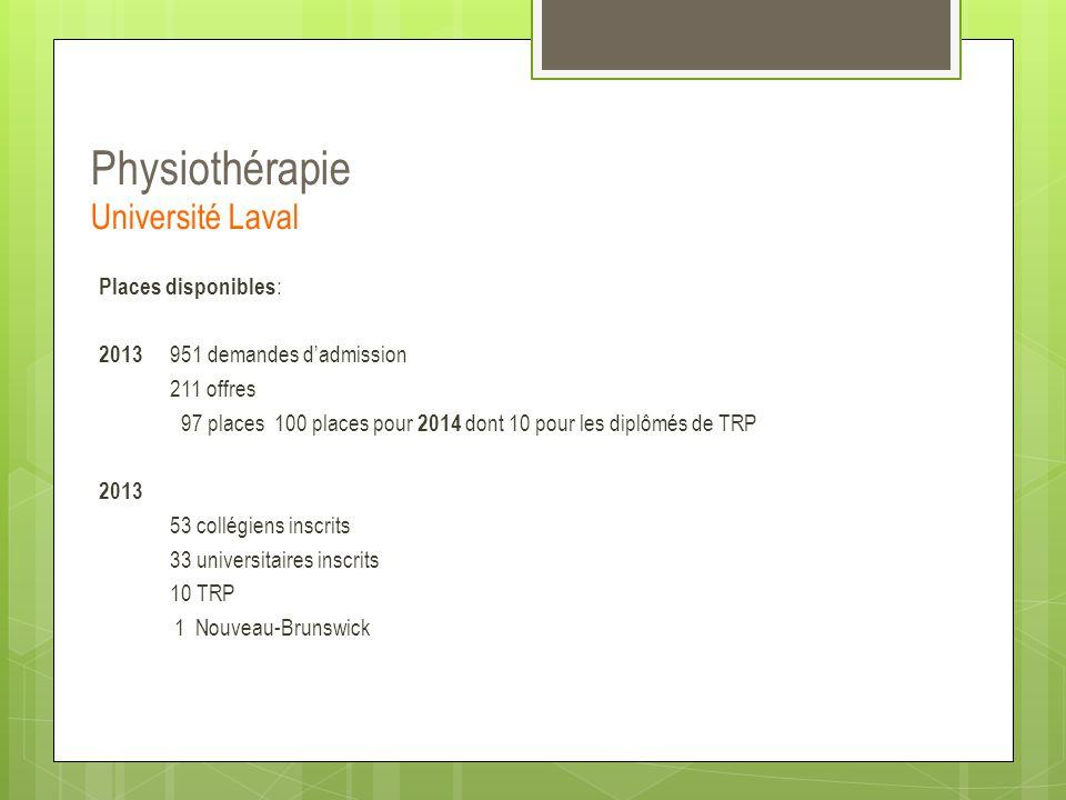 Physiothérapie Université Laval Places disponibles : 2013 951 demandes d'admission 211 offres 97 places 100 places pour 2014 dont 10 pour les diplômés