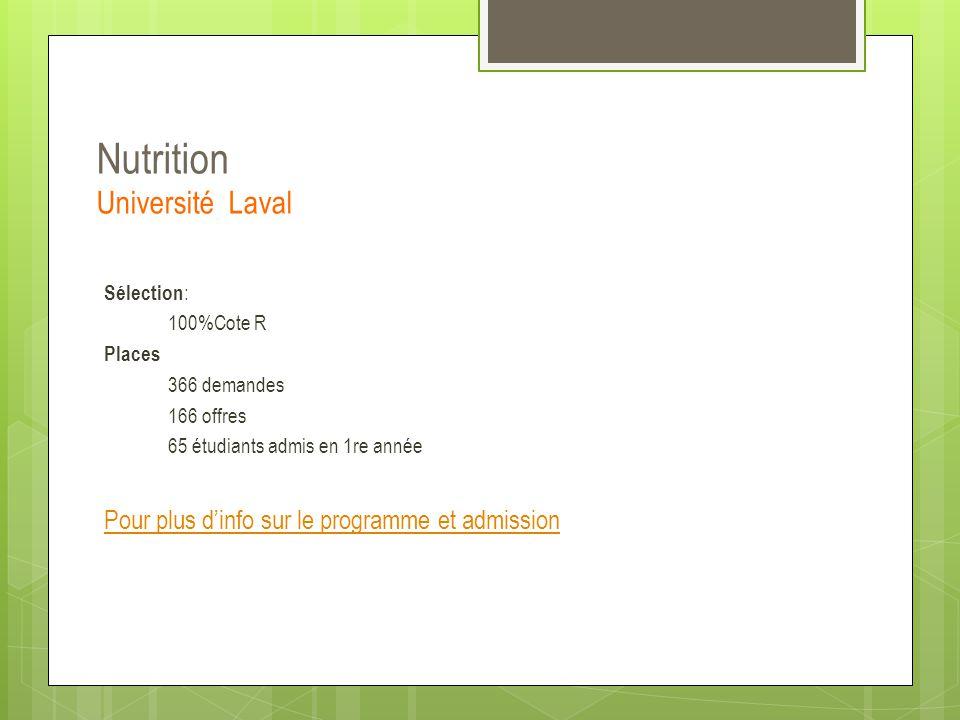 Nutrition Université Laval Sélection : 100%Cote R Places 366 demandes 166 offres 65 étudiants admis en 1re année Pour plus d'info sur le programme et