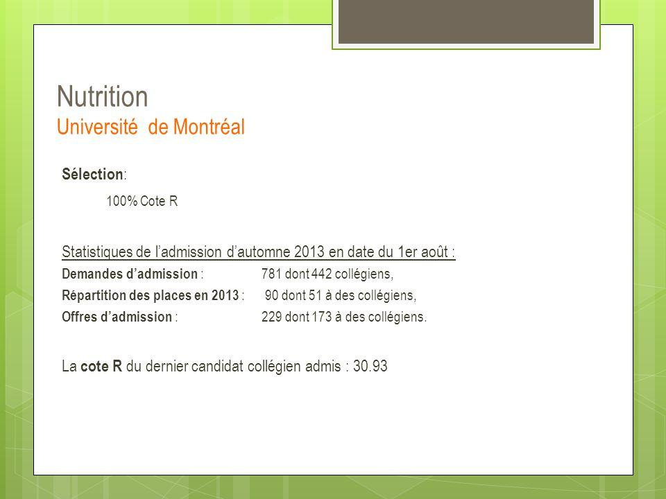 Nutrition Université de Montréal Sélection : 100% Cote R Statistiques de l'admission d'automne 2013 en date du 1er août : Demandes d'admission :781 do