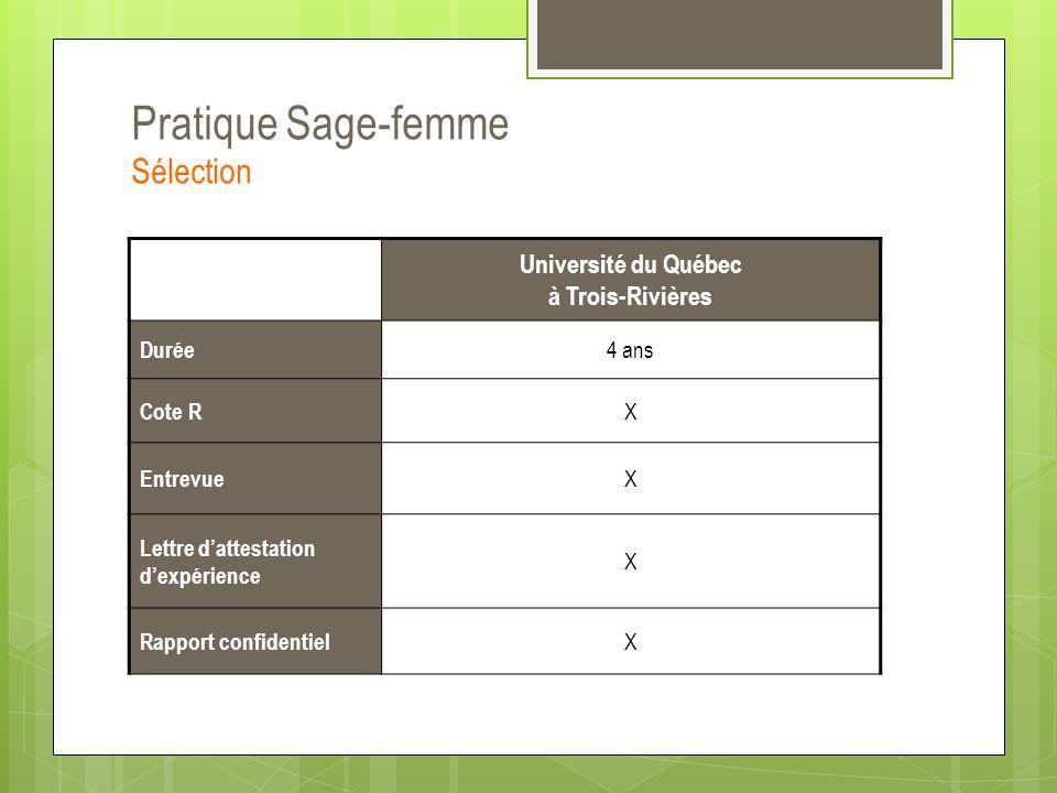 Pratique Sage-femme Sélection Université du Québec à Trois-Rivières Durée 4 ans Cote R X Entrevue X Lettre d'attestation d'expérience X Rapport confid