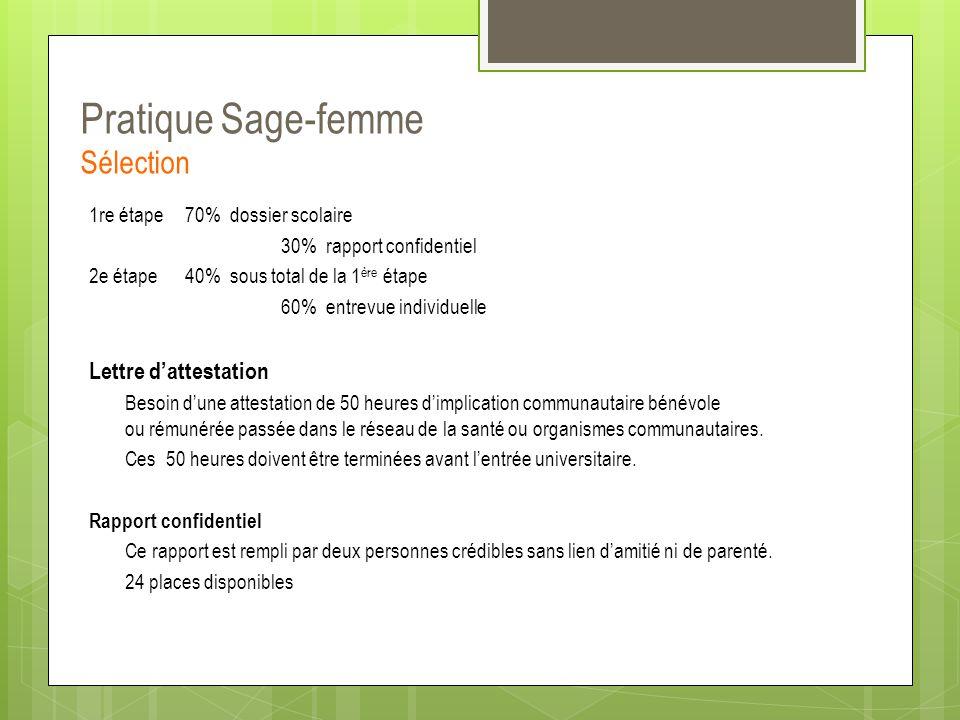 Pratique Sage-femme Sélection 1re étape 70% dossier scolaire 30% rapport confidentiel 2e étape40% sous total de la 1 ère étape 60% entrevue individuel