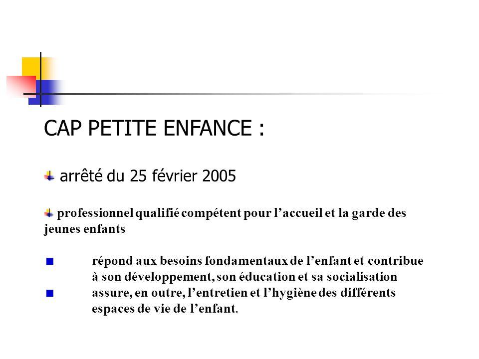CAP PETITE ENFANCE : arrêté du 25 février 2005 professionnel qualifié compétent pour l'accueil et la garde des jeunes enfants répond aux besoins fonda