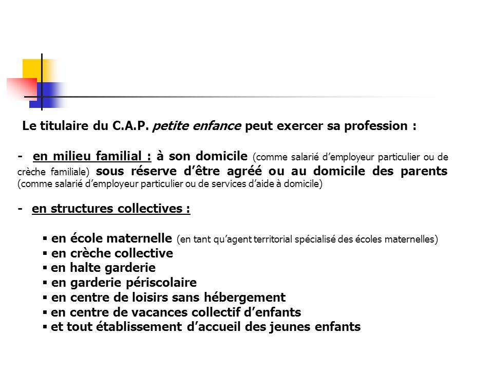 Le titulaire du C.A.P. petite enfance peut exercer sa profession : - en milieu familial : à son domicile (comme salarié d'employeur particulier ou de