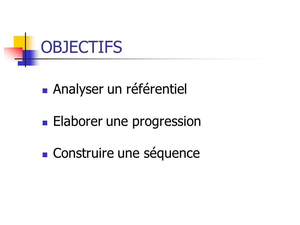 OBJECTIFS  Analyser un référentiel  Elaborer une progression  Construire une séquence