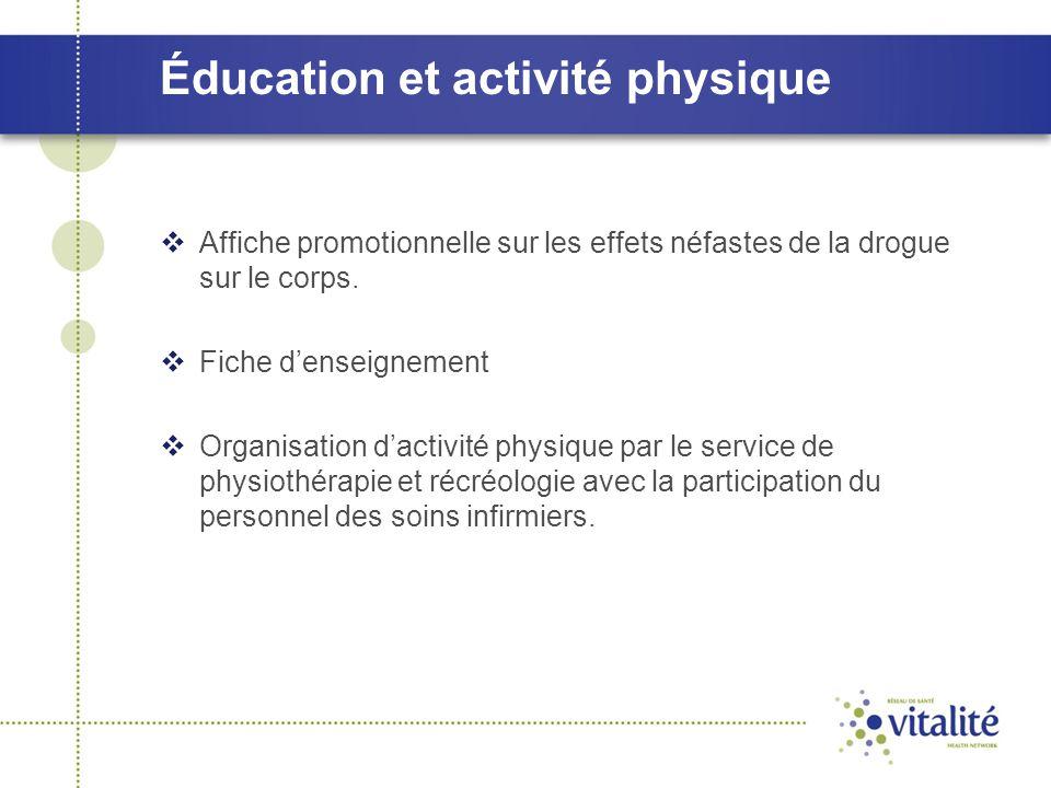 Éducation et activité physique  Affiche promotionnelle sur les effets néfastes de la drogue sur le corps.  Fiche d'enseignement  Organisation d'act
